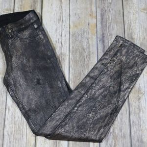 J Brand Coated Snakeskin Skinny Jeans/Leggings